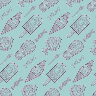 Seamless pattern di sfondo gelato e caramelle