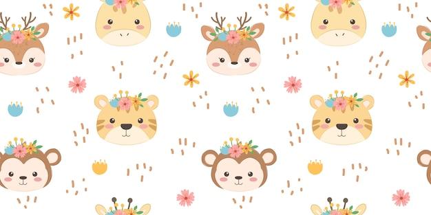 Seamless pattern di simpatici animali