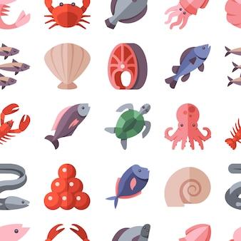 Seamless pattern di specialità di pesce e cucina di pesce
