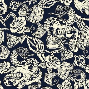 Seamless pattern di tatuaggi vintage