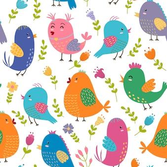 Seamless pattern di uccelli carini