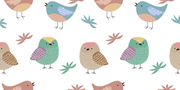 Seamless pattern di uccelli colorati