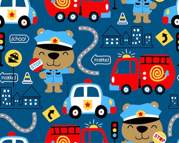 Seamless pattern di veicoli cartoon con poliziotto divertente
