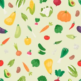 Seamless pattern di verdure biologiche.