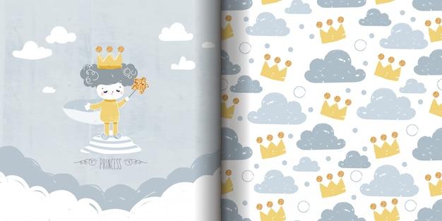 Seamless pattern doodle minimalista disegno con inchiostro principessa pittura con scintillante bacchetta magica stella.