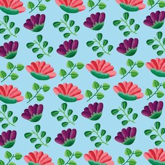 Seamless pattern fiori foglie decorazione fogliame