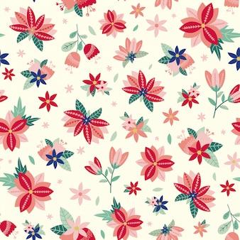 Seamless pattern floreale con fiori e foglie