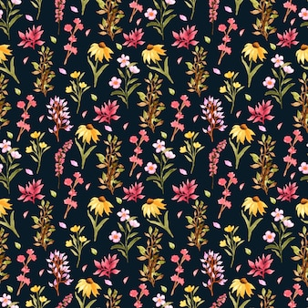 Seamless pattern floreale con fiori selvatici