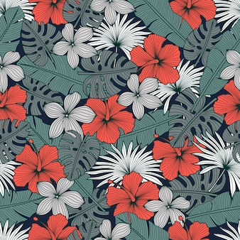 Seamless pattern floreale con fiori tropicali