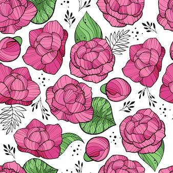 Seamless pattern floreale con peonie rosa
