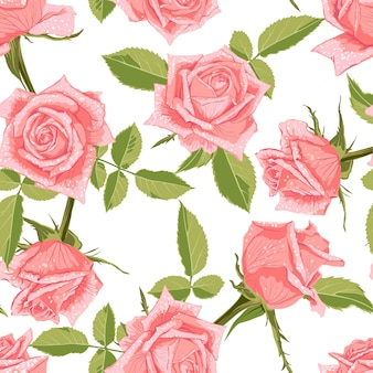 Seamless pattern floreale con rose.