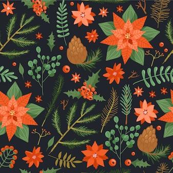 Seamless pattern floreale di natale.