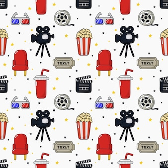 Seamless pattern icone del cinema. raccolta di segni e simboli