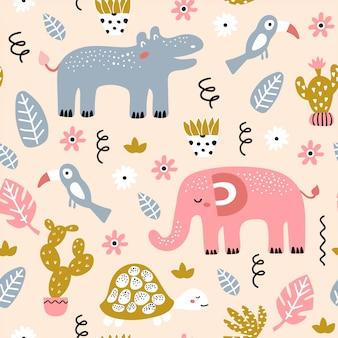 Seamless pattern infantile con animali africani