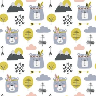 Seamless pattern infantile con orsi