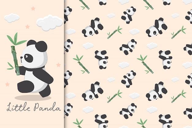 Seamless pattern infantile con panda e bambù. l'illustrazione del panda sta trasportando il bambù