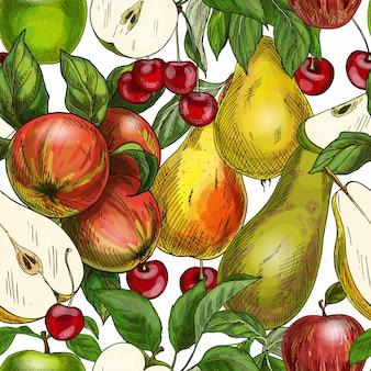 Seamless pattern, mele, pere e ciliegie