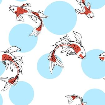 Seamless pattern orientale con carpe giapponesi koi. un simbolo di buona fortuna. sfondo asiatico, illustrazione. design di stampa in tessuto naturale.