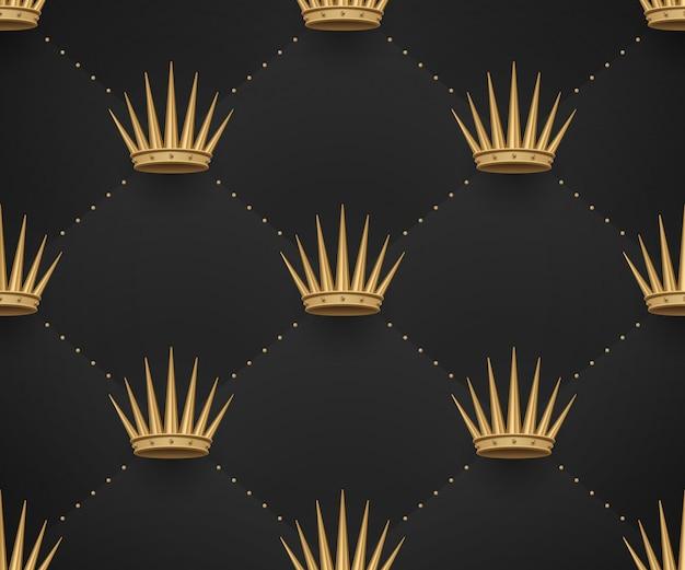 Seamless pattern oro con re corone su uno sfondo nero scuro.