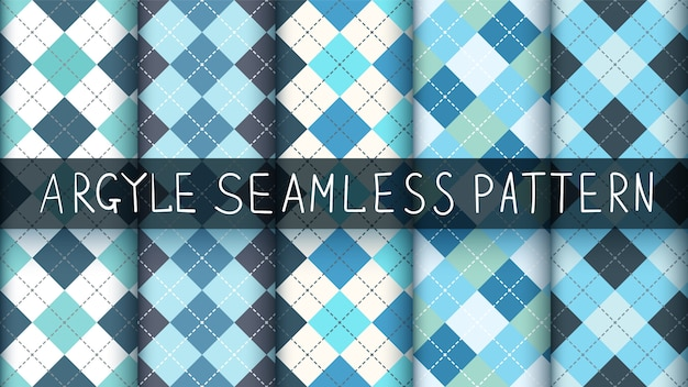 Seamless pattern plaid argyle blu.