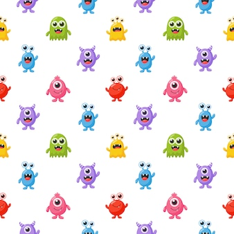 Seamless pattern simpatico cartone animato divertente mostro isolato su sfondo bianco.