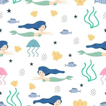 Seamless pattern sirena per bambini e ragazzi