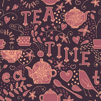 Seamless pattern tea time