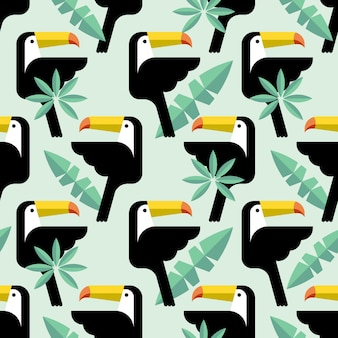 Seamless pattern tropicale con uccelli.