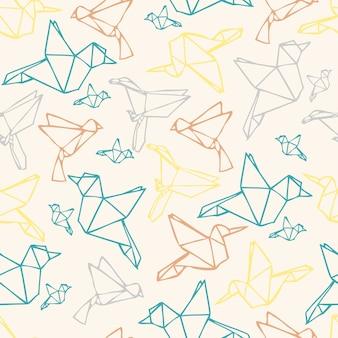Seamless sfondo colorato origami modello uccello carta