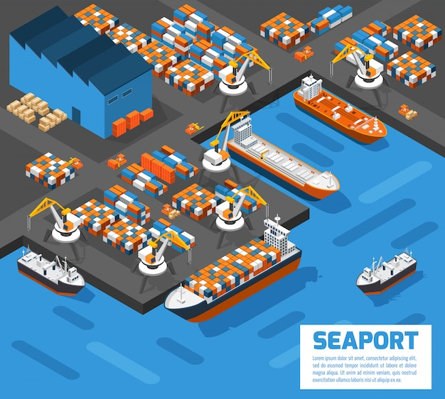 Seaport isometric aerial view poster