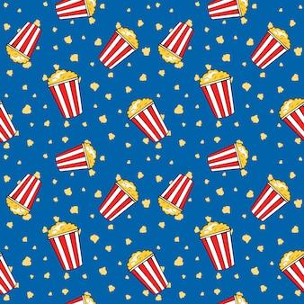 Secchi del popcorn della striscia di volo, modello senza cuciture del cinema divertente, illustrazione di vettore.