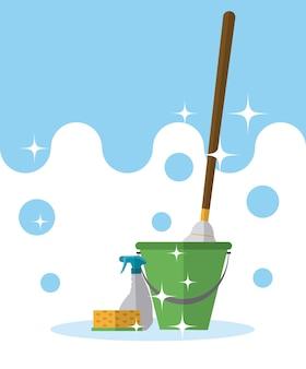 Secchio e mop con detergenti