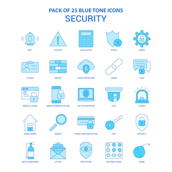 Security blue tone icon pack