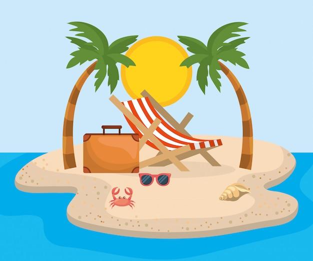 Sedia abbronzante con palme e valigetta con occhiali da sole