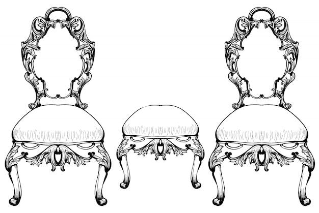 Sedia barocca con ornamenti di lusso. struttura complessa ricca di lusso francese. decori in stile vittoriano