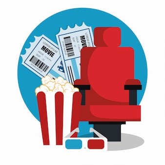 Sedia cinema con pop corn e biglietti
