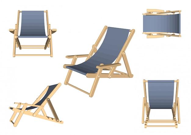 Sedia da spiaggia impostata su bianco