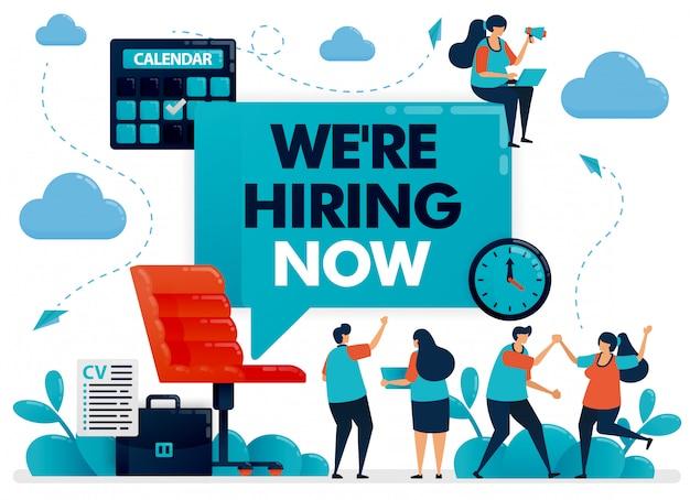 Sedia da ufficio con cartello che stiamo assumendo per offerte di lavoro e annunci di outsourcing.