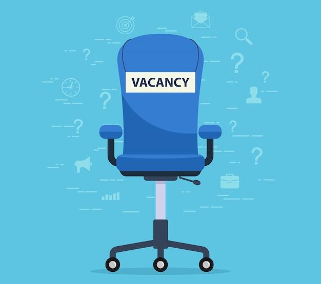 Sedia da ufficio con un posto libero. concetto di trovare un dipendente al lavoro.