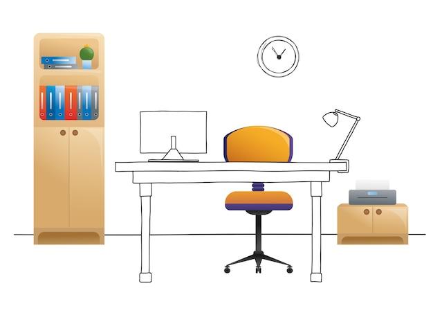 Sedia da ufficio, scrivania, vari oggetti sul tavolo. area di lavoro con stile. illustrazione