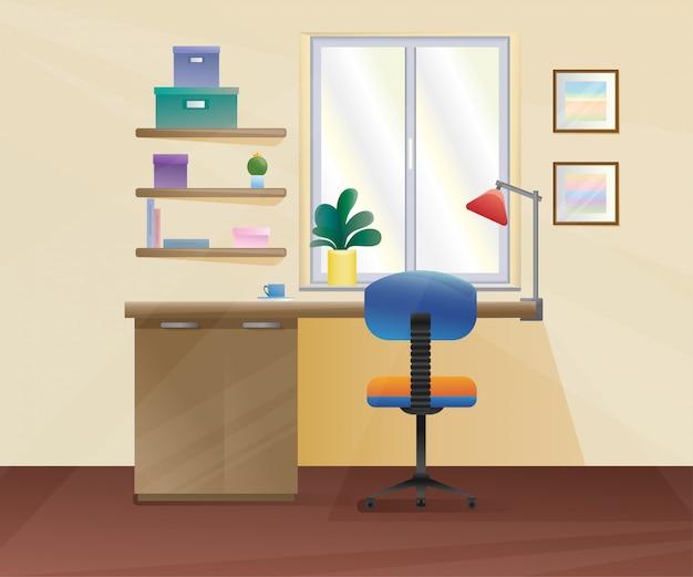 Sedia da ufficio, scrivania, vari oggetti sul tavolo
