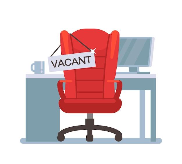 Sedia da ufficio vuota con segno vacante. concetto di vettore di lavoro occupazione, posti vacanti e assunzioni. lavoro libero della sedia, illustrazione degli impiegati di ricerca