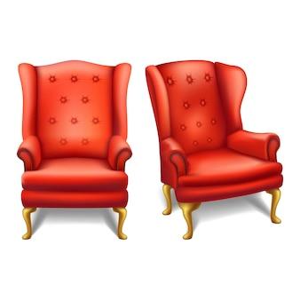 Sedia rossa d'annata di vecchia moda nella vista frontale e laterale