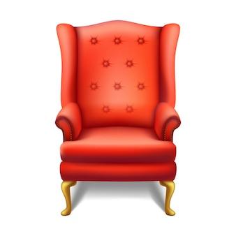 Sedia rossa d'annata di vecchia moda nella vista frontale. illustrazione isolata dell'icona su fondo bianco.