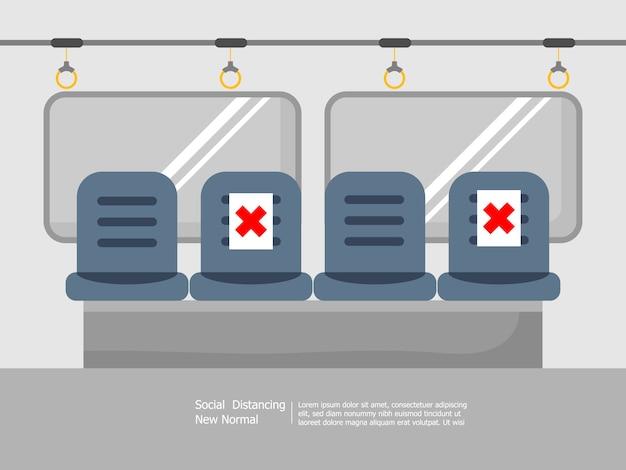 Sedili di trasporto pubblico con allontanamento sociale