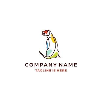 Seduta cane contorno monoline colorfull icona logo modello illustrazione vettoriale
