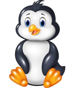 Seduta divertente del pinguino del fumetto isolata su fondo bianco