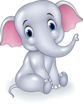 Seduta divertente dell'elefante del bambino del fumetto