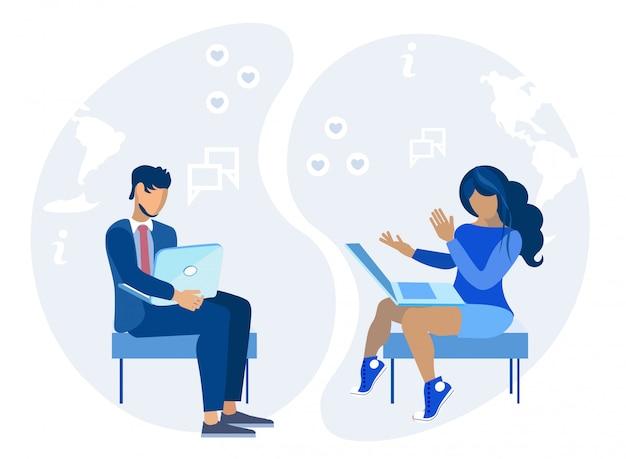 Seduta e rete della donna e dell'uomo sul computer portatile