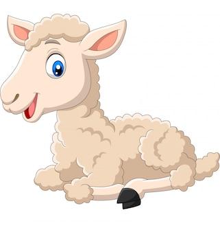 Seduta sveglia del fumetto dell'agnello isolata